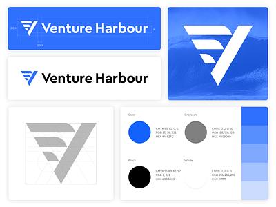 Venture Harbour | Branding startup leading businesses people digital blue wave grid layers water sail v branding minimalism geometry design icon mark logo venture