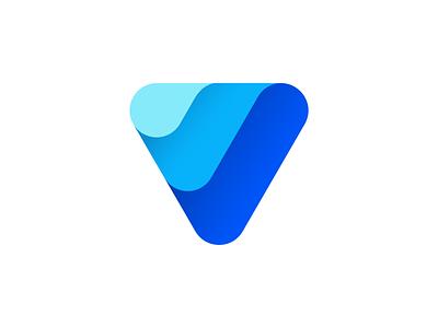 V mark minimalism aqua water wave v design icon mark logo