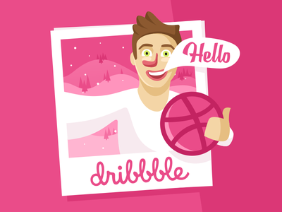 Hello Dribbble hello dribbble logo design flat polaroid selfie foto guy ball winter