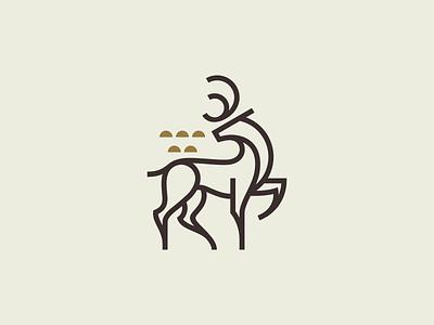 Fallow Deer Mark vintage simbol mark logo line illustration fallow design deer