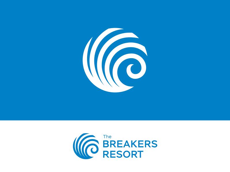 The Breakers Resort geometry minimalism sea water resort mark icon identity 2d design logo wave