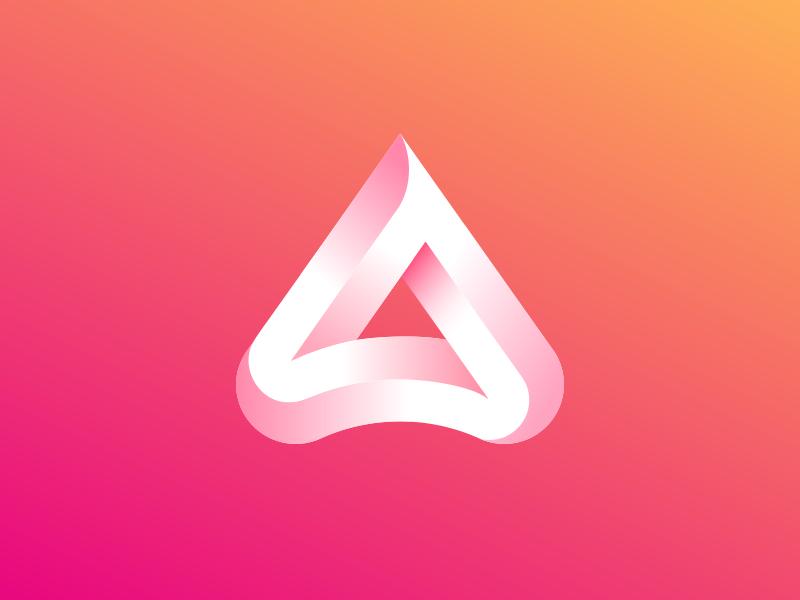 A + triangle mark triangle colors ios minimalism geometry design icon a logo mark