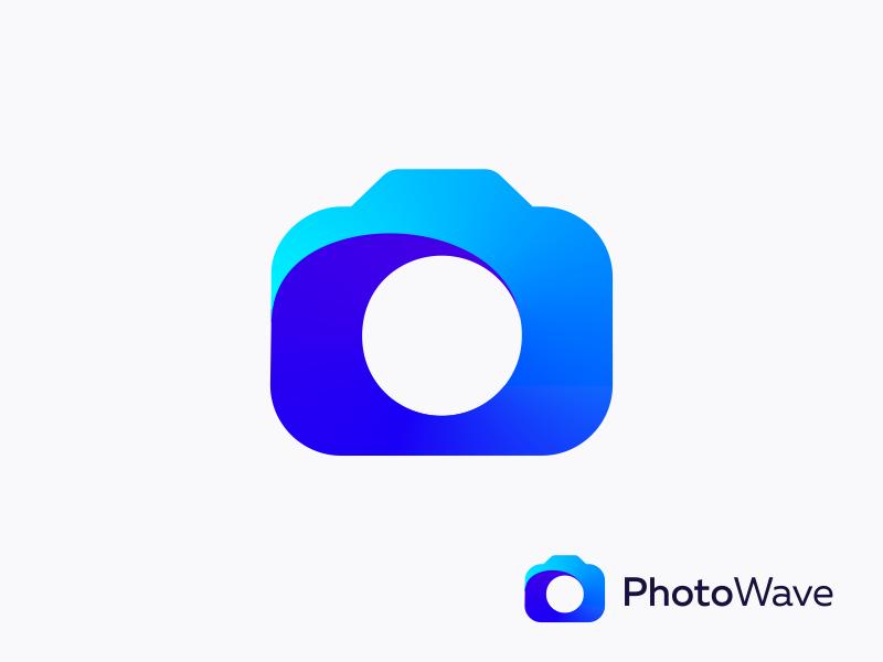 PhotoWave - logo concept wave print web photoshop minimalism geometry 2d design mark icon logo
