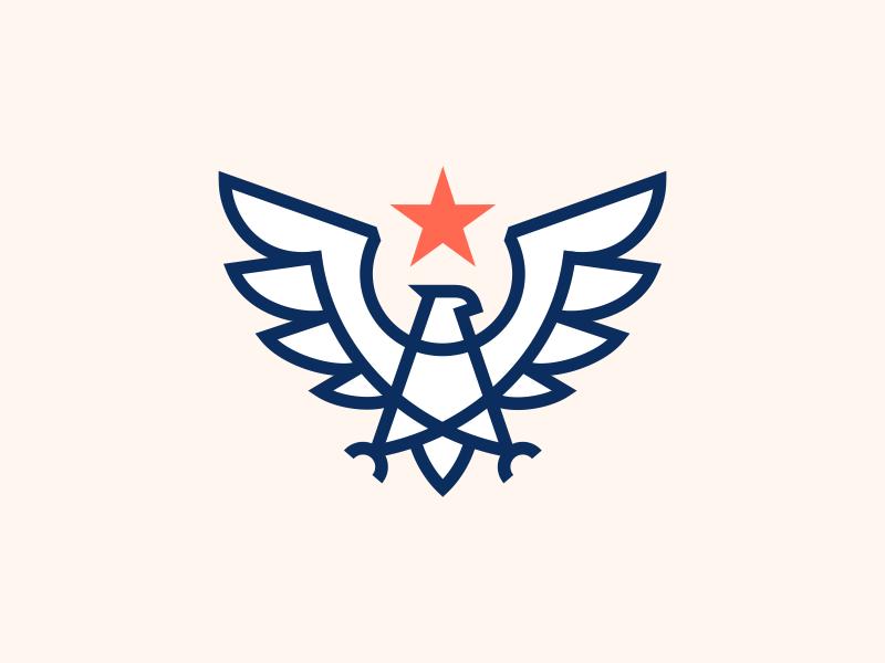 Eagle Mark modern badge america usa line geometry hawk mark 2d logo star eagle crest logo arrows