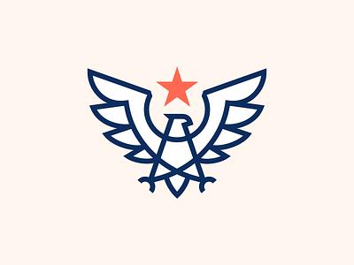 Eagle Mark animal modern badge america usa line geometry hawk mark 2d logo star eagle crest logo arrows