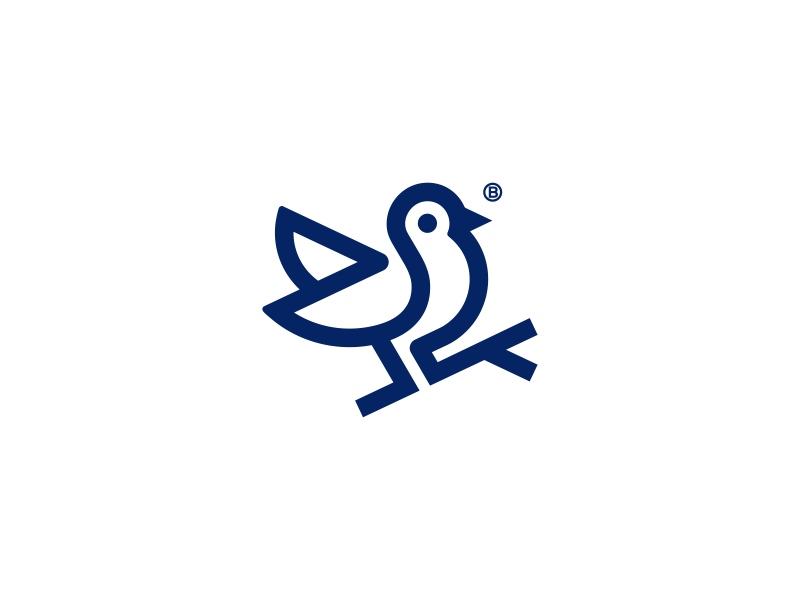 Bird mark animal branch line geometry illustration minimalism logo mark icon blue bird icon bird