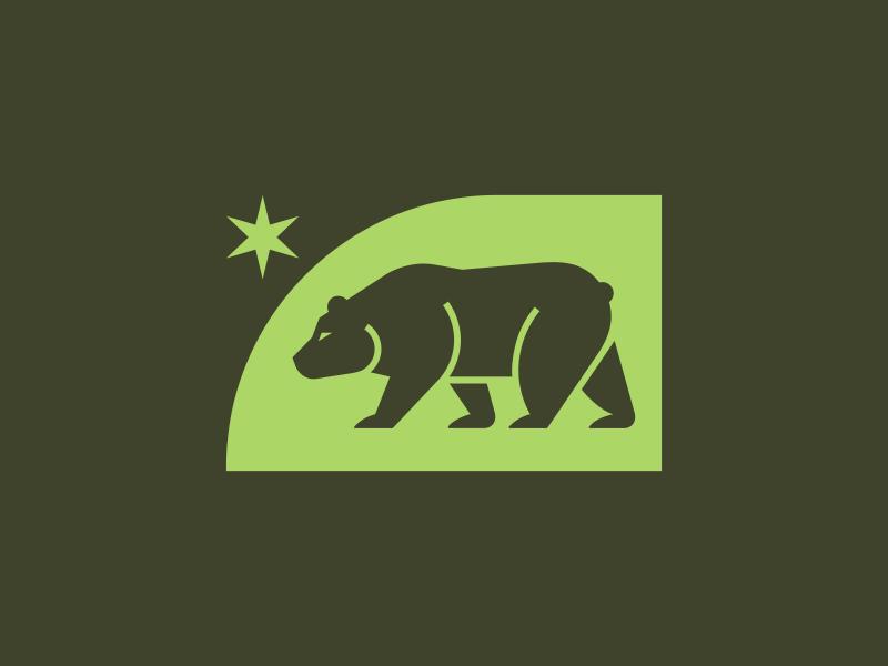 Bear mark star bear minimalism illustration mark icon logo