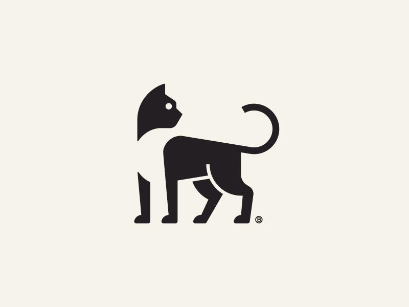 Black cat mark minimal mark line black 2d geometry minimalism illustration logo icon negative space cat