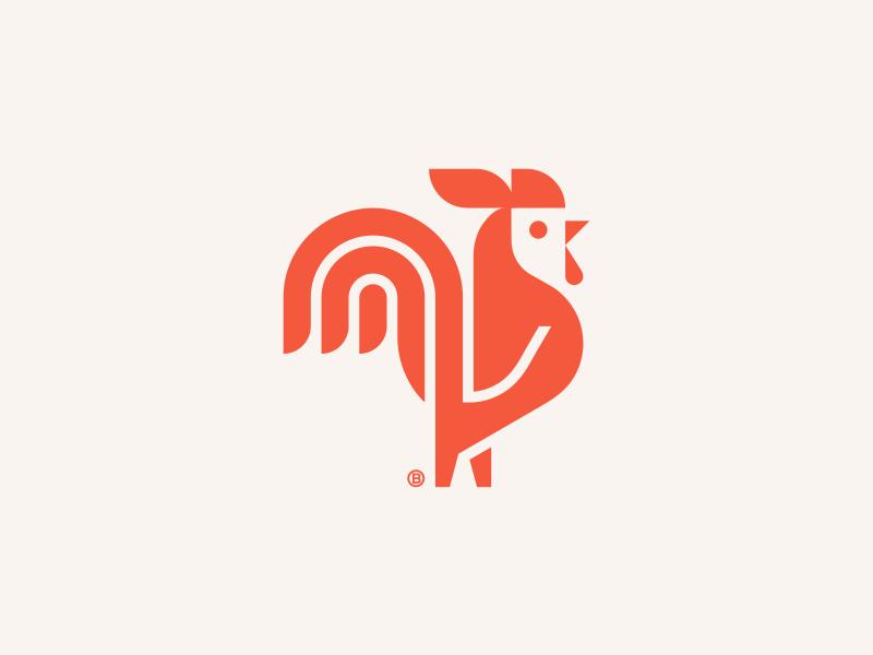 Rooster mark 2d minimalism geometry mark design illustration beak red logo icon cock rooster