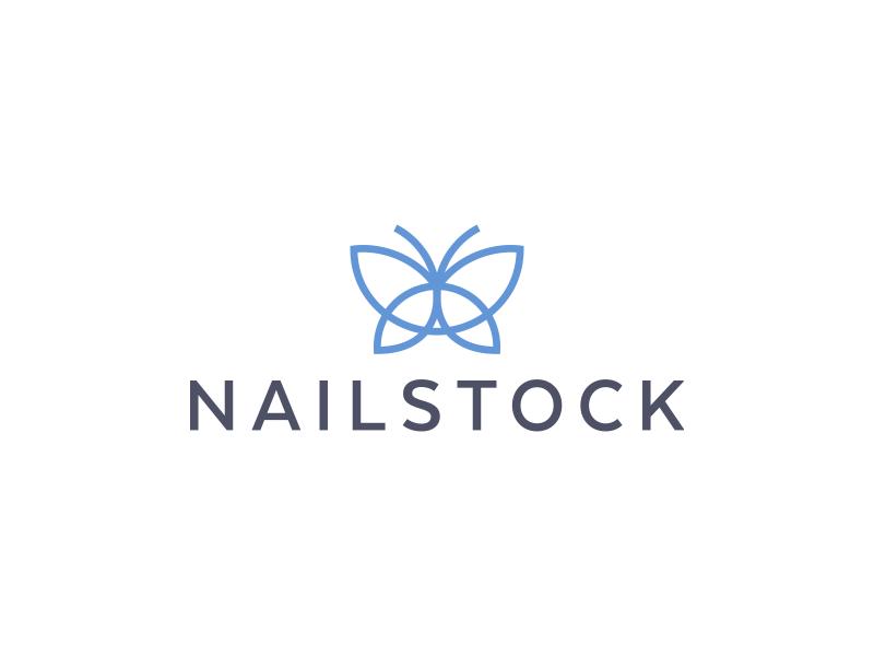 Nailstock cosmetics butterfly icon geometry minimalism design logo mark stockton nail