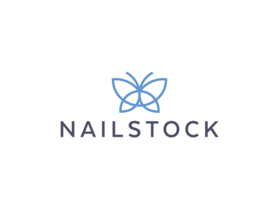 Nailstock cosmetics butterfly icon geometry minimalism design logo mark stockton nail