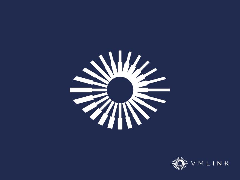 VMlink vector design geometry minimalism technology eye mark icon logo link