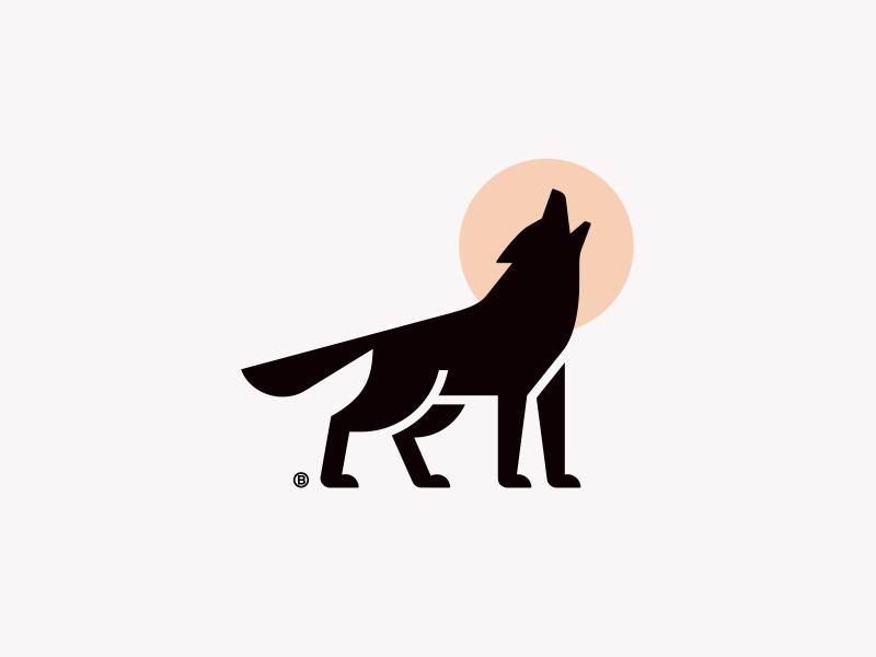 Wolf mark geometry illustration design mark logo moon wolf