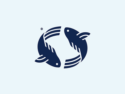 Fish mark food logotype animal minimalism geometry illustration design icon water sea fish logo mark