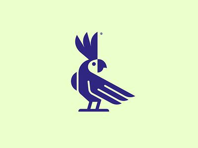 Parrot bird animal minimalism geometry design icon mark logo