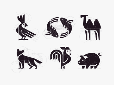 Geometric animals modern geometry pig rooster camel fish dog parrot minimalism design illustration icon logo vector animal mark animals