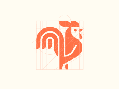 Rooster geometric vector line logotype animal 2d minimalism logo mark icon design geometry cock rooster