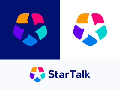 StarTalk logo line 2d minimalism illustration geometry design icon mark logo chat talk star