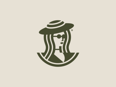 Woman mark vector line illustration geometry design icon mark logo clothes glasses hat woman