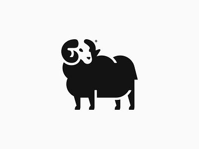 Black Sheep mark logotype geometry branding line logo mark design illustration black ram animal sheep