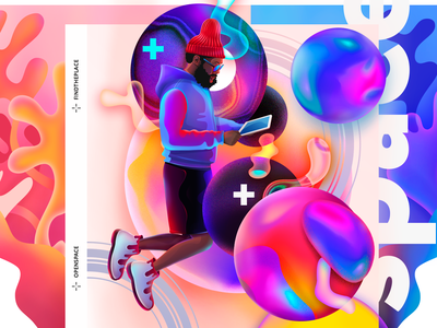 Find The Place character space gradient illustration