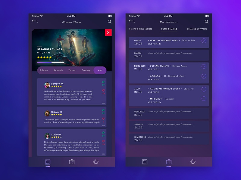 App TV Shows | Reviews and Calendar screens by Anaïs Migeon on Dribbble