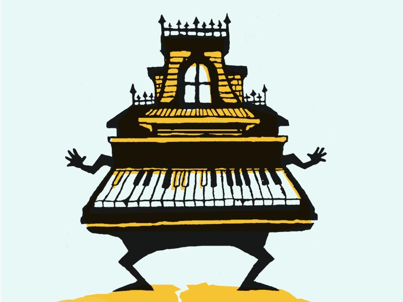 Spooky house piano illustration