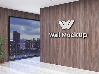 3d interior design wall Mockup branding logo renders mockup psd mockup design 3d logo mockup interior