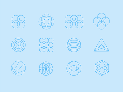 Geometric icons circles fibanacci azul blue minimal shapes geometry sacred mathmatical modern simple clean