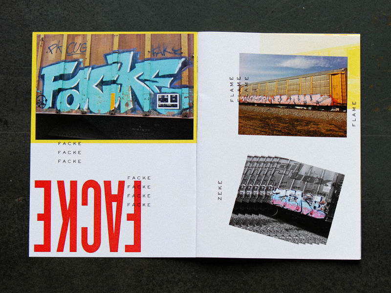 The Laser Machine – Spread dada brochure branding spread layout typography graffiti print zine