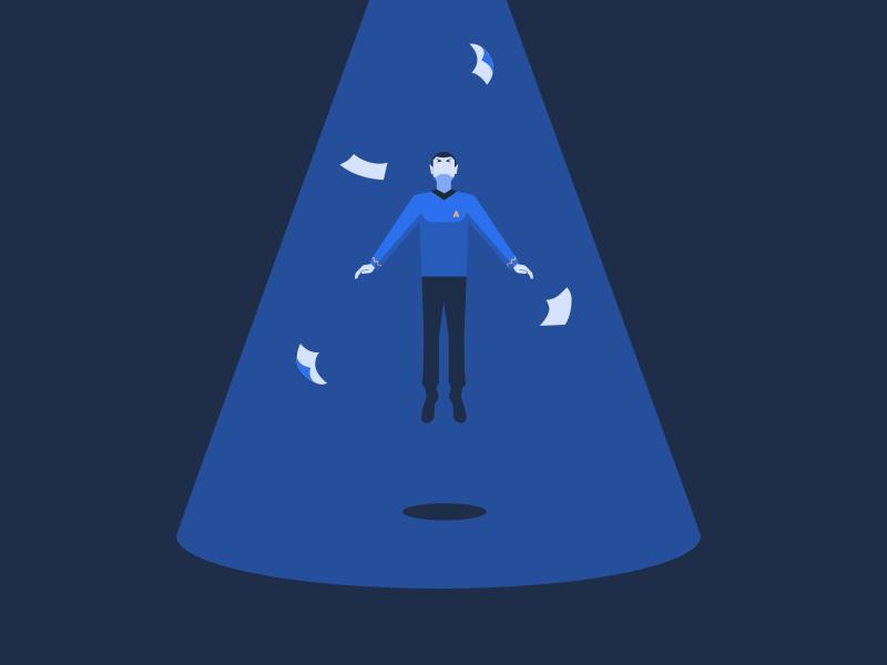 Beam me up, Scotty design blue paper beam startrek spok illustration