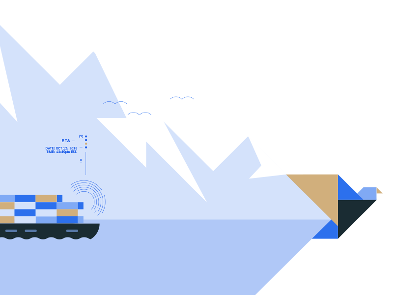 Little bird flat mountain blue design tracking ship freight ocean simple illustration geometric bird