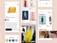 AI fashion app screens userinterface fashion ux ui app minimal shopping app uxui artificial intelligence ecommerce app clean fashion app cards mobile ui mobile design app design mobile app mobile