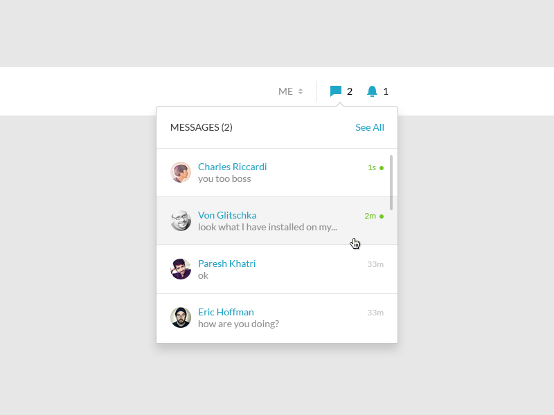Messages (2) inbox preview web ui