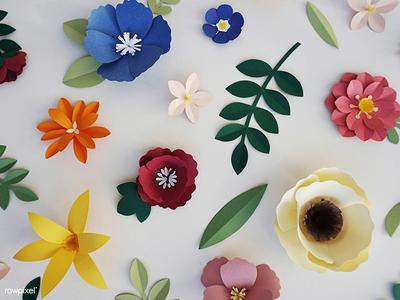 Paper Flowers blossom pattern florals flowers paper craft paper