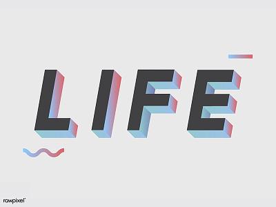 LIFE : 3D alphabets design typography life letter font alphabets