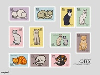Stamps Collection: Cats