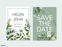 Wedding Invitations : Greenery