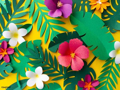 Tropical Paper Set summer leaf colorful tropical floral flower paper craft papercraft paper icons graphic design design