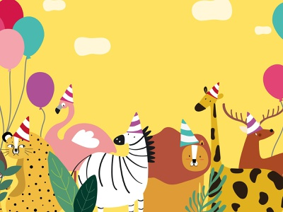 Let's party!! new year 2019 fun party cut animal character graphic graphic design illustration vector design