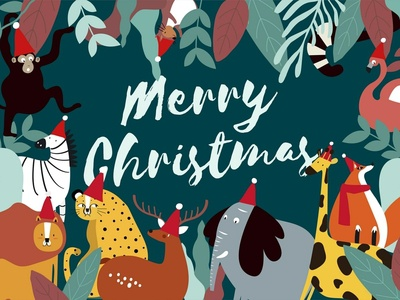 Merry Jungle Christmas :) merry christmas fun cute xmas christmas jungle animal character graphic graphic design illustration vector design