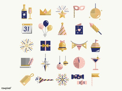 New Year's Icons hny festive new year 2019 icons icon graphic graphic design illustration vector design