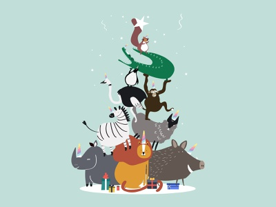 Let's Party!! design vector illustration graphic design graphic character animal cut party fun new year 2019