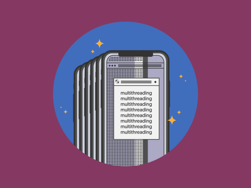 Illustration brutalism cocoa touch concurrency multithreading ios viget vector illustration icon
