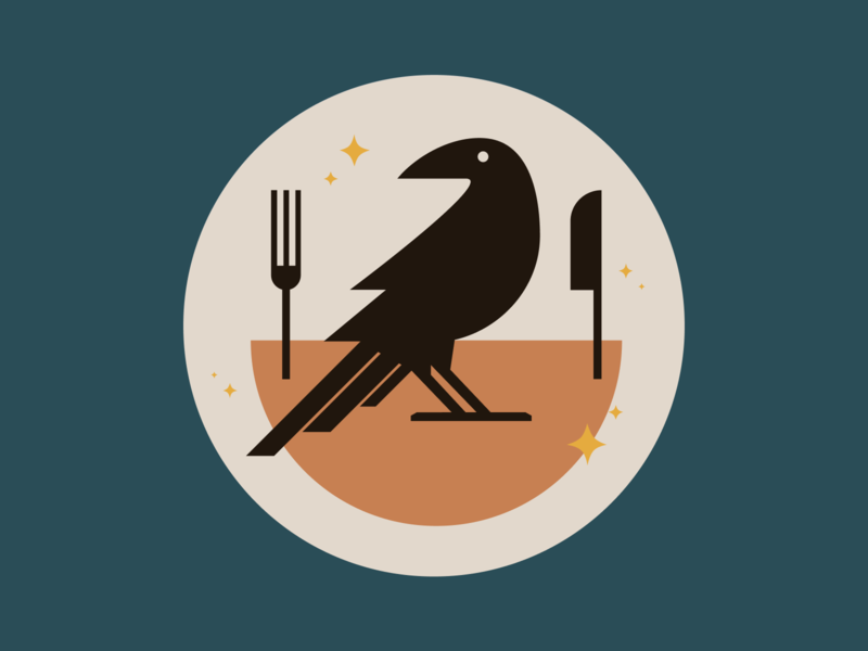 Illustration eatcrow crow design viget vector illustration icon