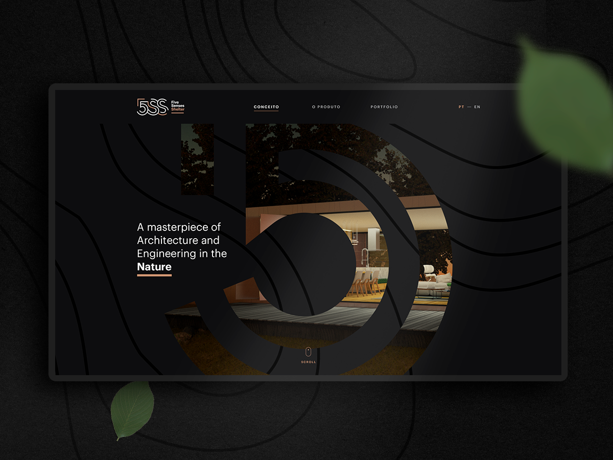 5ss website animation outlines lines organic nature modular house shelter architecture symbol mask horizontal scroll design grid parallax typography ui branding website
