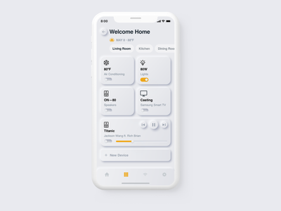 Neumorphism Smarthome Mobile Concept sketch download freebie free white settings control iot smarthome smart mobile iphone ios ui app flat minimal skeuomorphic neumorphic neumorphism