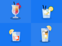 Textured Watercolor Cocktail Illustrations icon branding logo flat minimal bar cocktail bar vector illustration water fruit alchohol drink cocktail