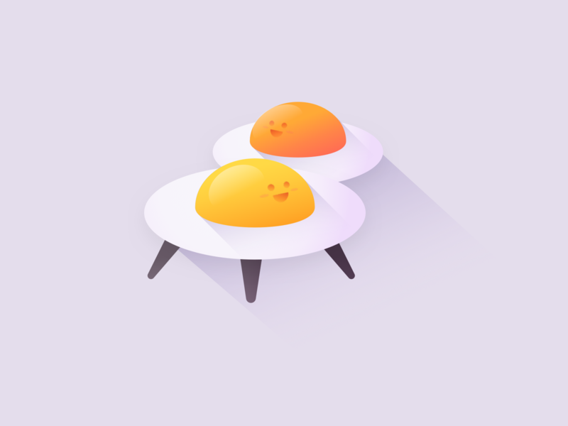 Egg Invaders animation branding logo icon flat minimal shadow 3d vector illustration space alien cute ufo egg