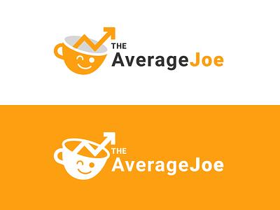 The Average Joe Newsletter Logo theme cute mascot vector illustration news finance mug coffee minimal orange branding brand logo newsletter joe average